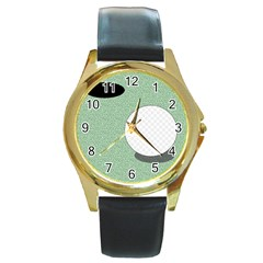 Golf Image Ball Hole Black Green Round Gold Metal Watch by Alisyart