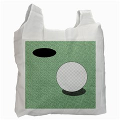 Golf Image Ball Hole Black Green Recycle Bag (one Side)
