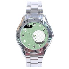 Golf Image Ball Hole Black Green Stainless Steel Analogue Watch by Alisyart