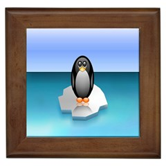 Penguin Ice Floe Minimalism Antarctic Sea Framed Tiles by Alisyart