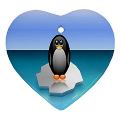 Penguin Ice Floe Minimalism Antarctic Sea Ornament (heart) by Alisyart