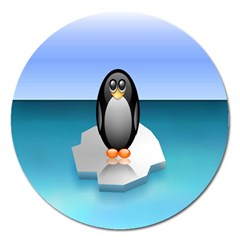 Penguin Ice Floe Minimalism Antarctic Sea Magnet 5  (round) by Alisyart