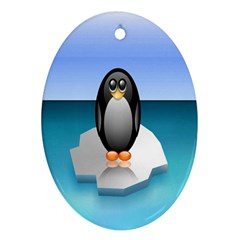 Penguin Ice Floe Minimalism Antarctic Sea Oval Ornament (two Sides)