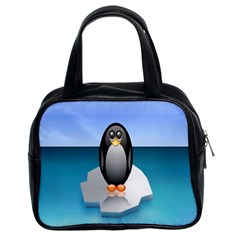 Penguin Ice Floe Minimalism Antarctic Sea Classic Handbags (2 Sides) by Alisyart