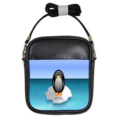 Penguin Ice Floe Minimalism Antarctic Sea Girls Sling Bags