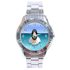 Penguin Ice Floe Minimalism Antarctic Sea Stainless Steel Analogue Watch by Alisyart