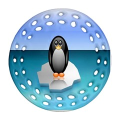 Penguin Ice Floe Minimalism Antarctic Sea Ornament (round Filigree)