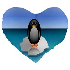 Penguin Ice Floe Minimalism Antarctic Sea Large 19  Premium Heart Shape Cushions by Alisyart