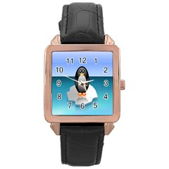 Penguin Ice Floe Minimalism Antarctic Sea Rose Gold Leather Watch  by Alisyart