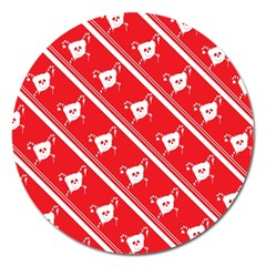 Panda Bear Face Line Red White Magnet 5  (round)