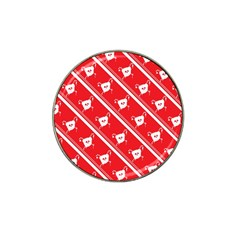 Panda Bear Face Line Red White Hat Clip Ball Marker by Alisyart