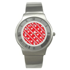 Panda Bear Face Line Red White Stainless Steel Watch by Alisyart