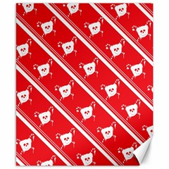 Panda Bear Face Line Red White Canvas 8  X 10