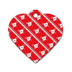 Panda Bear Face Line Red White Dog Tag Heart (two Sides)