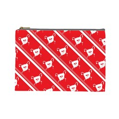 Panda Bear Face Line Red White Cosmetic Bag (large)