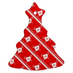 Panda Bear Face Line Red White Ornament (christmas Tree)