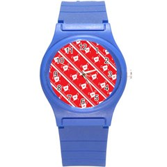 Panda Bear Face Line Red White Round Plastic Sport Watch (s) by Alisyart