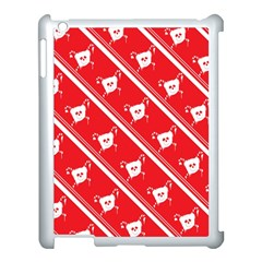 Panda Bear Face Line Red White Apple Ipad 3/4 Case (white)