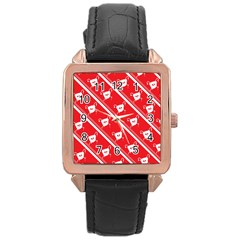 Panda Bear Face Line Red White Rose Gold Leather Watch
