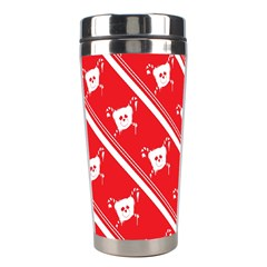Panda Bear Face Line Red White Stainless Steel Travel Tumblers by Alisyart