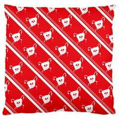 Panda Bear Face Line Red White Standard Flano Cushion Case (two Sides) by Alisyart