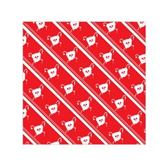 Panda Bear Face Line Red White Small Satin Scarf (square)
