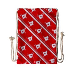 Panda Bear Face Line Red White Drawstring Bag (small) by Alisyart