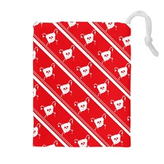 Panda Bear Face Line Red White Drawstring Pouches (extra Large)