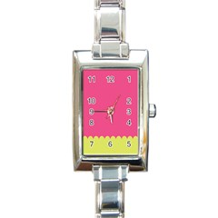 Pink Yellow Scallop Wallpaper Wave Rectangle Italian Charm Watch by Alisyart