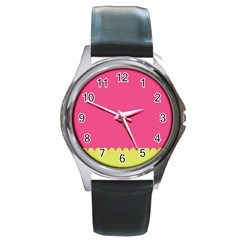 Pink Yellow Scallop Wallpaper Wave Round Metal Watch by Alisyart