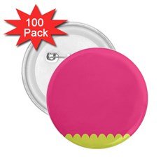 Pink Yellow Scallop Wallpaper Wave 2 25  Buttons (100 Pack)