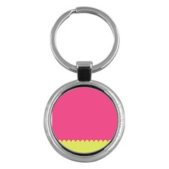 Pink Yellow Scallop Wallpaper Wave Key Chains (round)