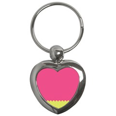 Pink Yellow Scallop Wallpaper Wave Key Chains (heart)  by Alisyart