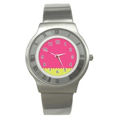 Pink Yellow Scallop Wallpaper Wave Stainless Steel Watch
