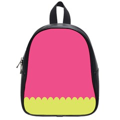 Pink Yellow Scallop Wallpaper Wave School Bags (small)  by Alisyart