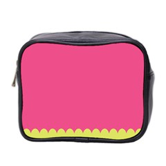 Pink Yellow Scallop Wallpaper Wave Mini Toiletries Bag 2 Side