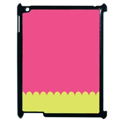Pink Yellow Scallop Wallpaper Wave Apple Ipad 2 Case (black) by Alisyart