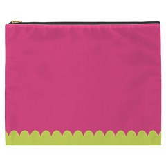 Pink Yellow Scallop Wallpaper Wave Cosmetic Bag (xxxl)