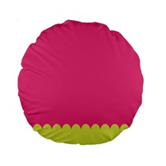 Pink Yellow Scallop Wallpaper Wave Standard 15  Premium Round Cushions