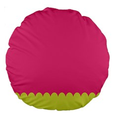 Pink Yellow Scallop Wallpaper Wave Large 18  Premium Round Cushions by Alisyart