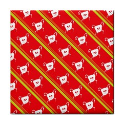 Panda Bear Face Line Red Yellow Tile Coasters