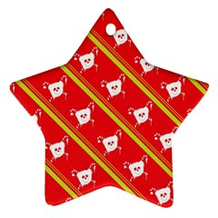 Panda Bear Face Line Red Yellow Ornament (star) by Alisyart