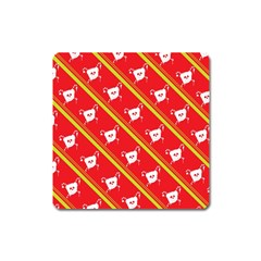 Panda Bear Face Line Red Yellow Square Magnet by Alisyart