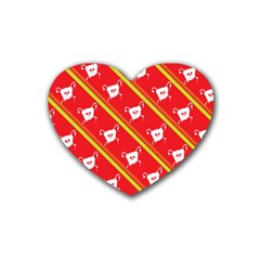 Panda Bear Face Line Red Yellow Heart Coaster (4 Pack)  by Alisyart