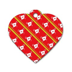 Panda Bear Face Line Red Yellow Dog Tag Heart (two Sides)