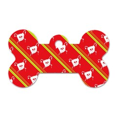 Panda Bear Face Line Red Yellow Dog Tag Bone (one Side) by Alisyart
