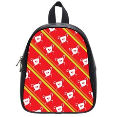 Panda Bear Face Line Red Yellow School Bags (small)