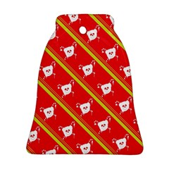 Panda Bear Face Line Red Yellow Bell Ornament (two Sides)