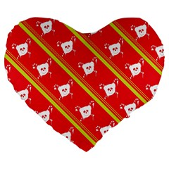 Panda Bear Face Line Red Yellow Large 19  Premium Heart Shape Cushions