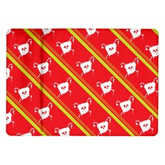 Panda Bear Face Line Red Yellow Samsung Galaxy Tab 10 1  P7500 Flip Case
